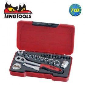 "Teng 22pc 1/4"" Drive Socket & Ratchet Set T1422"