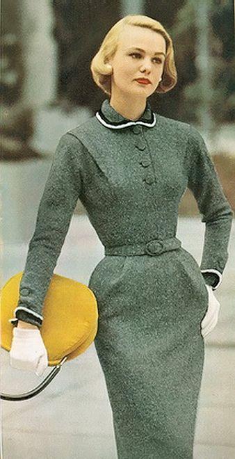 1950s - grey wool dress, elegant hair