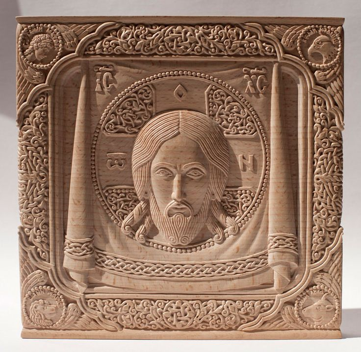 "Carved icon ""Mandylion"", beech wood before covering with oil varnish. Artists are Elena and Sergio Nikolenko"