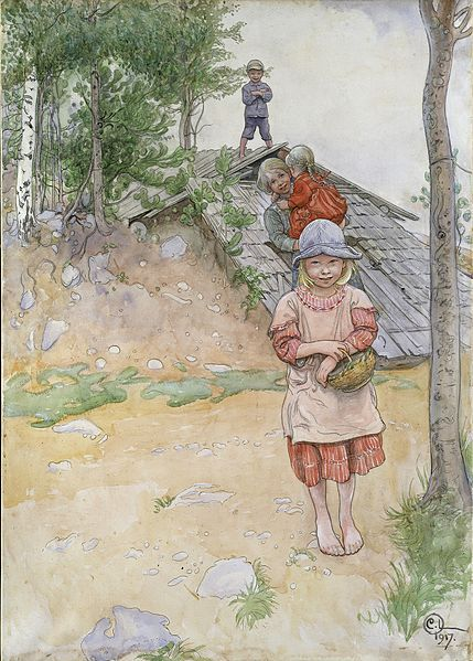 """""""By the Cellar"""" - by Carl Larsson, 1917 (watercolor)"""