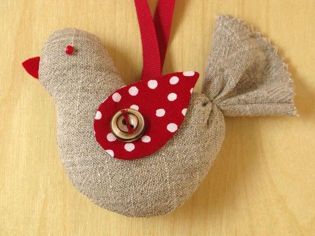 Burlap bird Christmas ornament