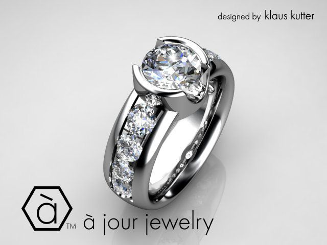 Modern Edge! - a brilliant round diamond is semi-bezel set with thick collars of precious metal and the band is lit up by the channel of smaller sparkling diamonds! The whole engagement piece is made of solid Platinum!*