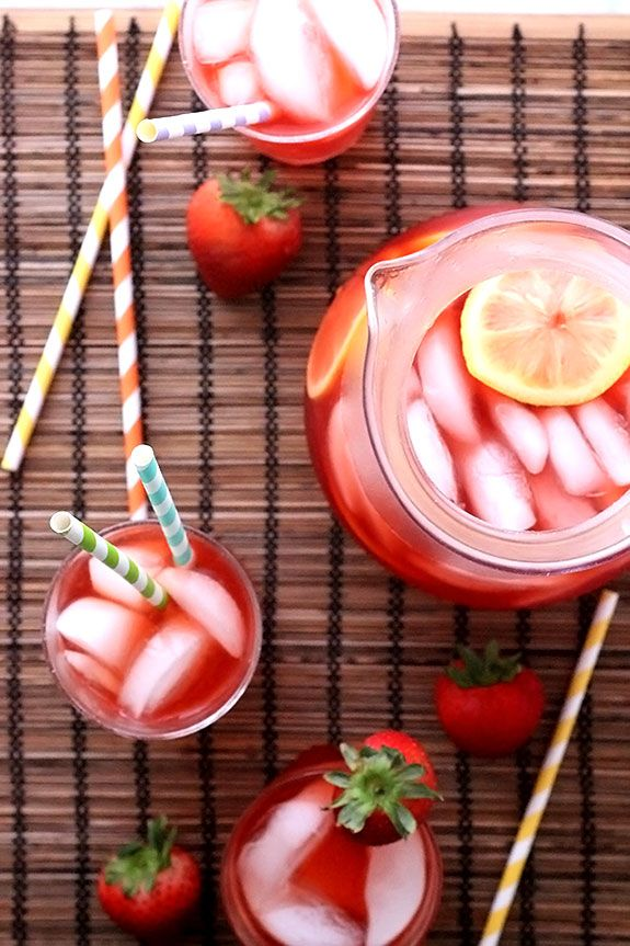Easy Strawberry Lemonade Iced Tea recipe for summer