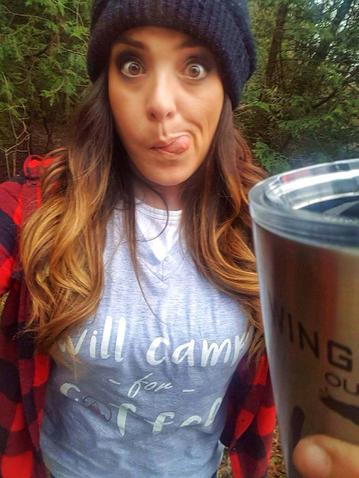 """Coffee is an essential survival item when camping!   Meet the """"Will Camp For Coffee"""" women's v neck heather grey tee. 💜  www.etsy.com/ca/listing/552154470/will-camp-for-coffee-tee-v-neck"""