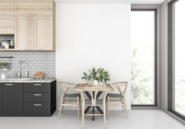 Modern Kitchen With Blank Wall Kuhnya