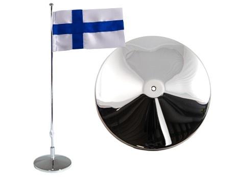 Flaggstång, slät, Finsk flagga, h 42cm. Material: Nysilver.