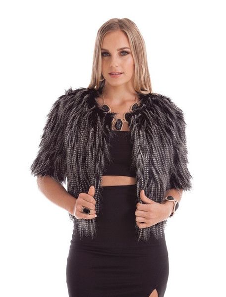 LILA SHAGGY BLACK & WHITE CROP COAT STYLE DETAILS:  Fully-lined, shaggy faux fur Cropped coat  FIT DETAILS:  Standard Australian sizing
