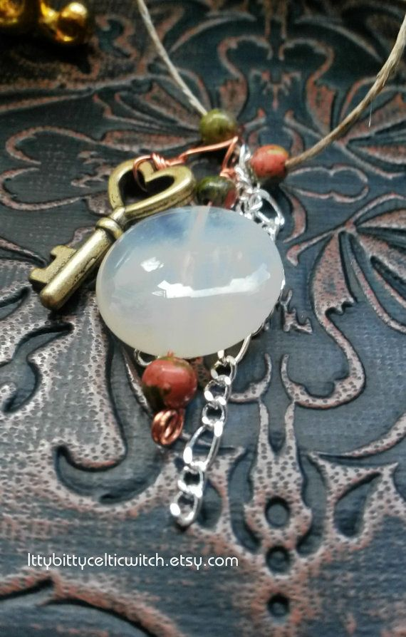"Botswana Agate Unakite Key Charm Necklace, ""Crystal Healing Necklace"" with Key Charm, Pagan Jewelry Witchcraft, New Age Crystals"