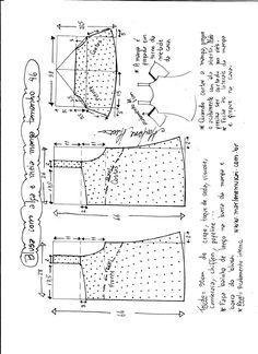 Esquema de modelagem de blusa com alça e meia manga tamanho 46.