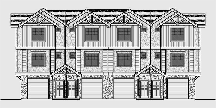 88 best triplex and fourplex house plans images on pinterest for 4 plex townhouse plans