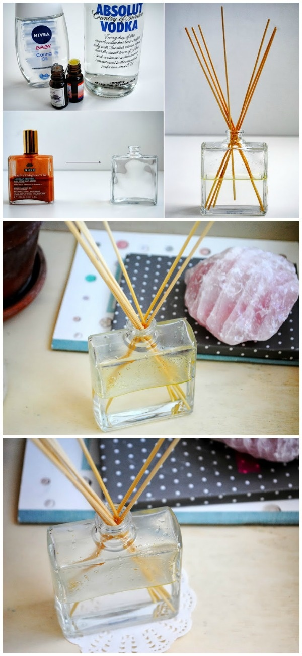 Make your own essential oil diffuser in minutes! How cool is that?!  Try this recipe from Behind My Desk.    1/4 cup of baby oil  3 tablespoons vodka  15-20 drops of essential oils of your choice.   Mix in bottle, then place bamboo sticks in the bottle. If you would like to buy or learn about some of the purest essential oils on the planet, contact me by clicking on this photo.    Source: http://www.behindmydesk.com/tips-and-diy-projects/2013/10-minute-diy-essential-oil-diffuser