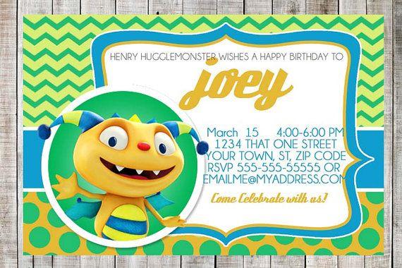 Henry Hugglemonster Custom Birthday Party Printable Invitation Chevron Polka Dot Birthday Invite Customized Boy Birthday Supplies Disney Jr
