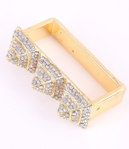 """Stretch Ring / surface 2.4""""Lx0.75""""W / rhinestone / gold color / lead & nickel compliant      $15.75"""