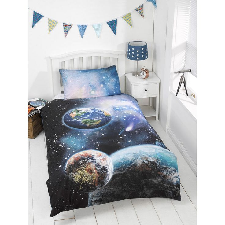kids glow in the dark single duvet set planets
