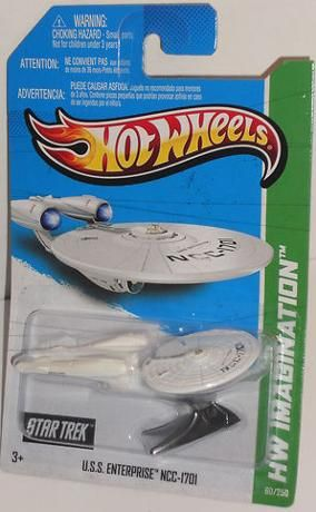 Hot Wheels Starship Enterprise Star Trek 2013. I actually found one this weekend! :)