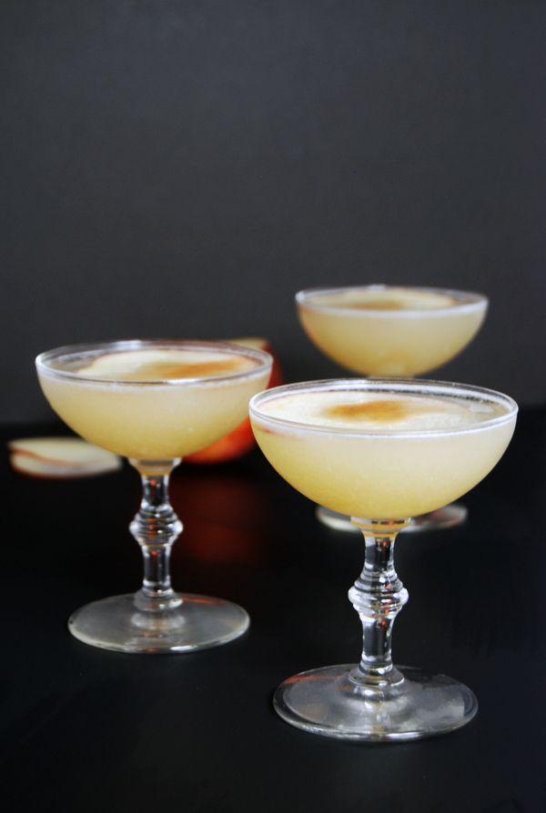Apple lavender pisco sour cocktail recipe.