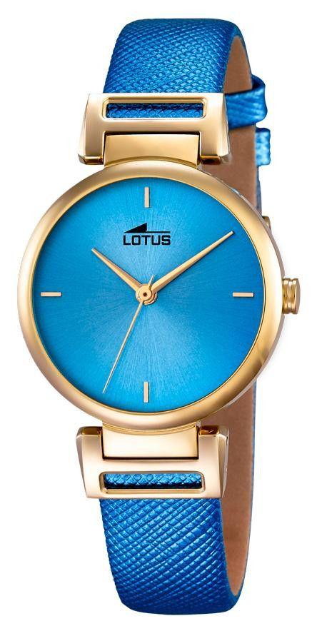 Lotus Damenuhr Lederarmband blau gold 18228/3 Trend Armbanduhr, Wasserdichtigkeits-Klassifizierung 5 ATM, Mineralglas, Edelstahlgehäuse gold-farbig, elegante Lotus Damenarmbanduhr, goldfarbige Zeiger, Durchmesser ca. 32 mm