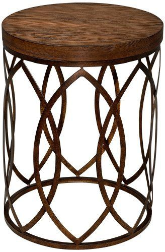 Arts And Crafts   Mission Beekman Round Wood And Metal Accent Table  Contemporary Side Tables And Accent Tables