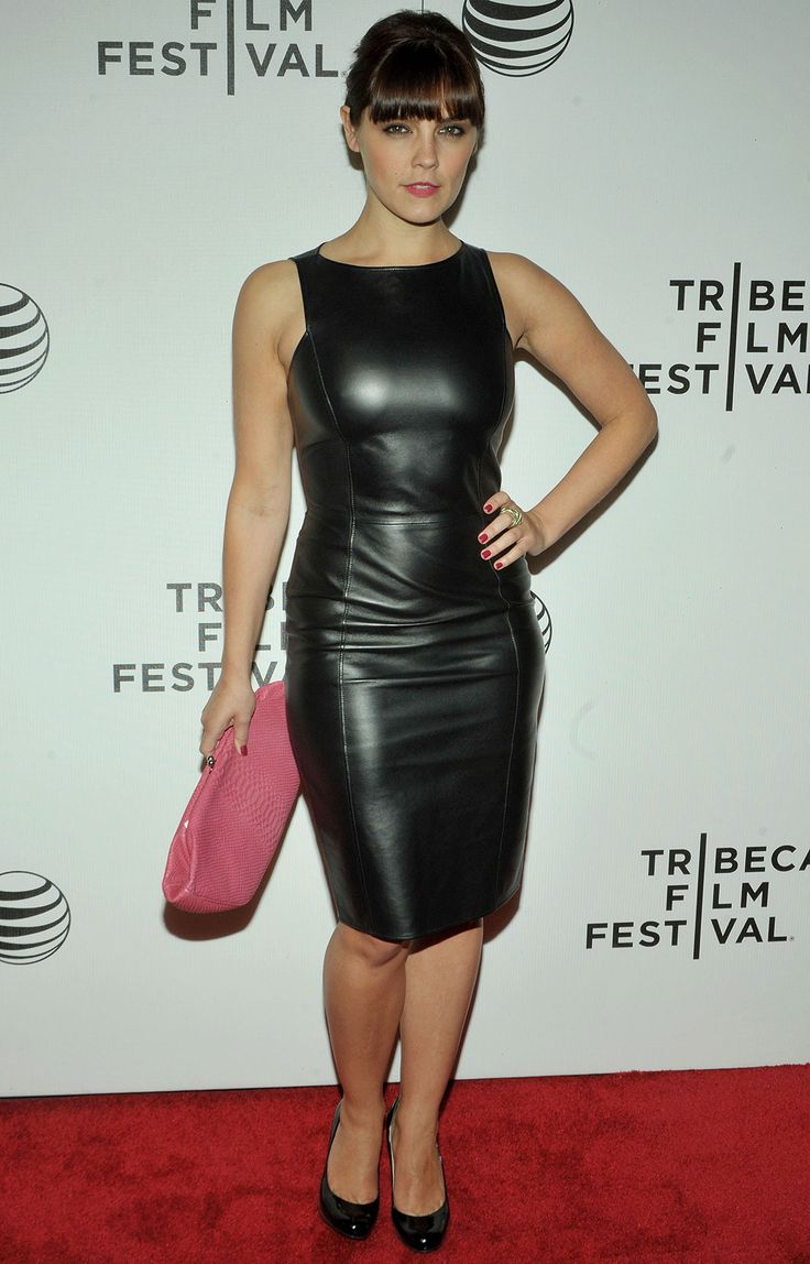 Annabel Scholey attends 2014 Tribeca Film Festival in black leather tank dress