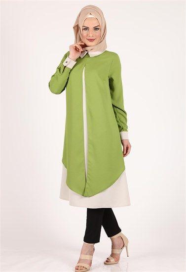 Moda Klas Asimetrik Yeşil Tunik İç Krem 9323