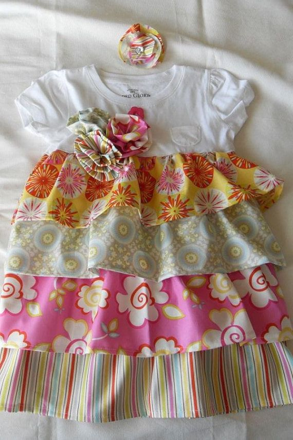 Ruffle Dress - PDF PATTERN up to 7yrs  completed in size 5