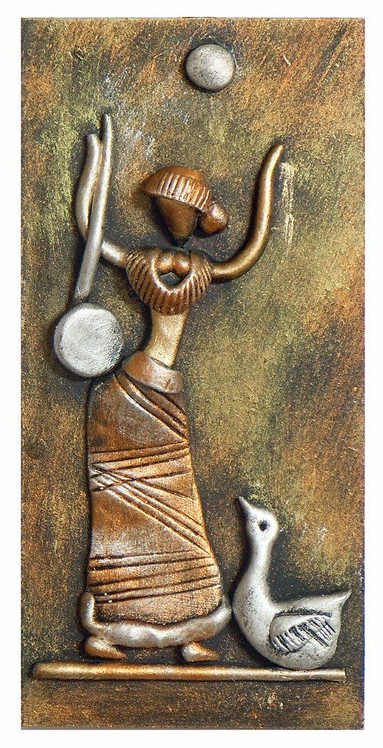 Goddess Saraswati (New Tribal Art) - Wall Hanging (Poly Resin on Hardboard)