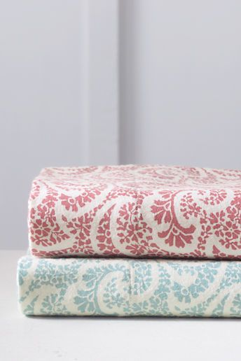 Lands End 5oz Printed Paisley Sheet Set Flannel
