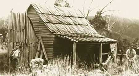 Weston's Hut circa 1940. The hut has high value as a refuge given its location on a key walking route between Mt Feathertop and the Bogong High Plains. After the 2006-07 bush fires, it was rebuilt.