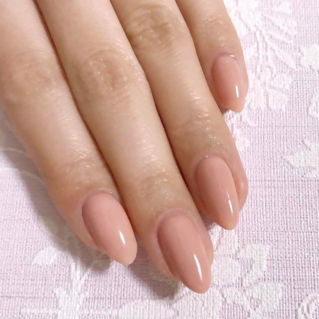 new nail♡ . ピンクベージュのワンカラー。 やっぱりシンプルなワンカラーが