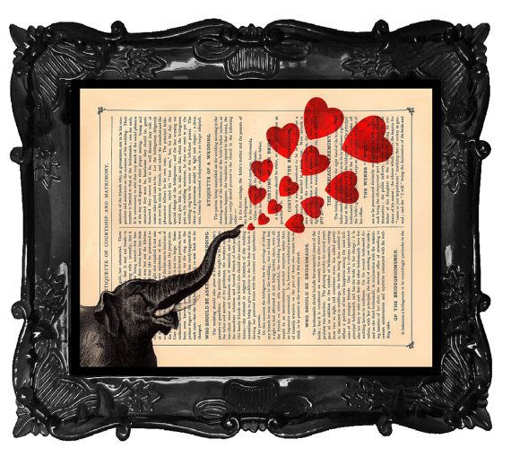 Valentine's Day Elephant Art Print Vintage Dictionary Print...BlackBaroque...etsy