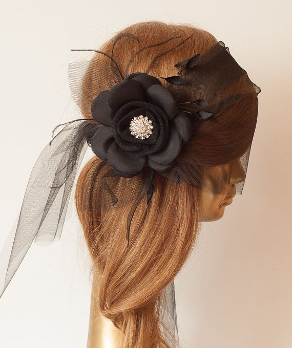 WEDDING BRIDAL BLACK BIRDCAGE VEIL, Tulle with Black Flower by ancoraboutique, $85.00