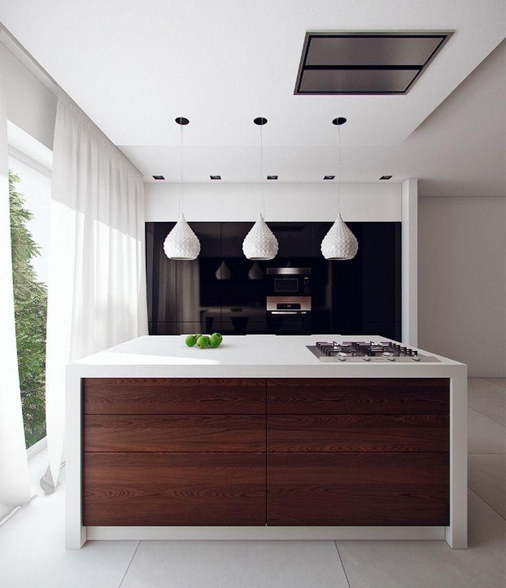 Grande isola cucina bianca perfetta per uno stile moderno