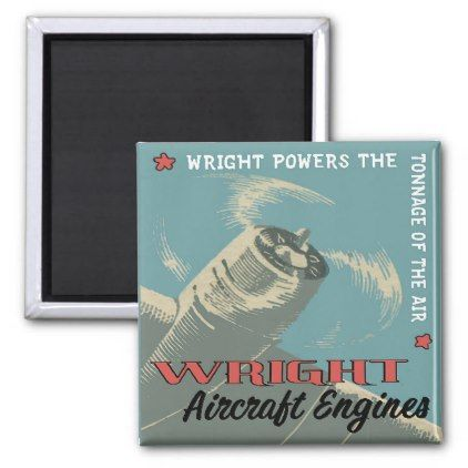 Vintage Wright Aircraft Engine Fridge Magnet - home gifts ideas decor special unique custom individual customized individualized