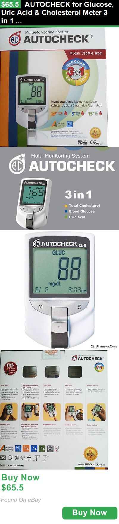 Cholesterol Testing 159875: Autocheck For Glucose, Uric Acid And Cholesterol Meter 3 In 1 Monitoring System Vb BUY IT NOW ONLY: $65.5