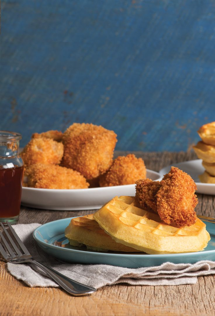 FRIED CHICKEN AND WAFFLES WITH SRIRACHA MAPLE SYRUP