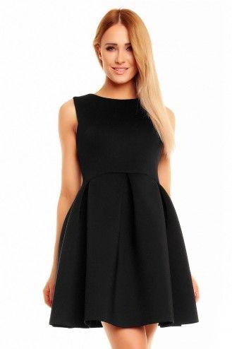 Rozkloszowana sukienka bez rękawów czarna KM140