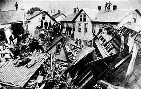 Houses piled up after the Great Johnstown, PA flood of 1889. This was the worst man made disaster in the United States prior to 9/11.  Bodies would be found for years to come, some as far away as Cincinnati, OH, 350 miles from Johnstown. In total, 2209 people perished. Volunteers came from around the country. The flood is the 1st major peace time relief effort of the recently formed American Red Cross.