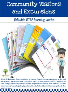 Over 30 Learning Story templates to choose from for your community visits and excursions.  Includes EYLF Outcomes for LDC, FDC, OSHC, QKLG.