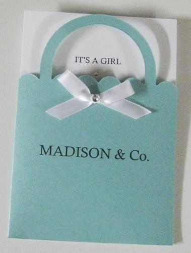 Tiffany Co. Shopping Bag Personalized Baby Shower Invitations 4.5 x 6.5 Tiffany Blue Tiffany Co. Inspired Invitation Metallic Cardstock. $2.00, via Etsy.