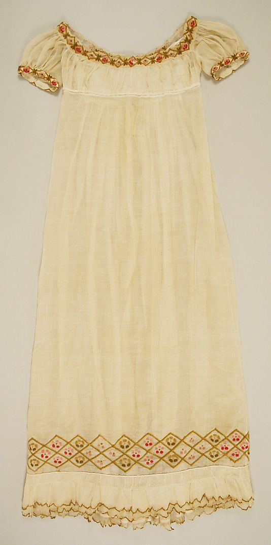 Cotton dress with wool embroidery, 1805–10, probably British - in the Metropolitan Museum of Art costume collections.