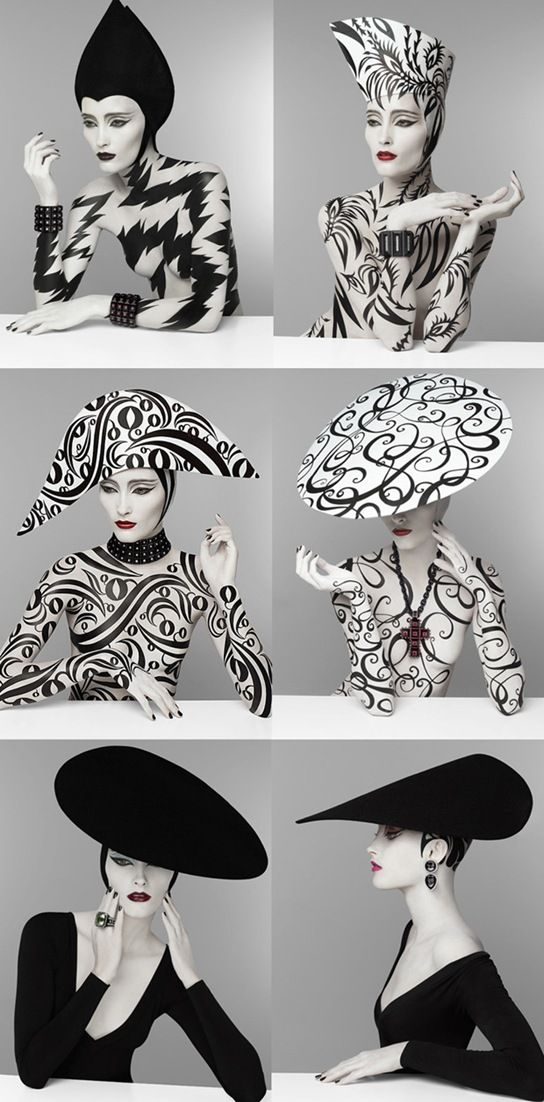 patterns & patterns: Crazy Hats, Fashion Models, Black And White, White Fashion, Fashion Art, Serge Pray, Black White, Fashion Photography, Casual Clothing