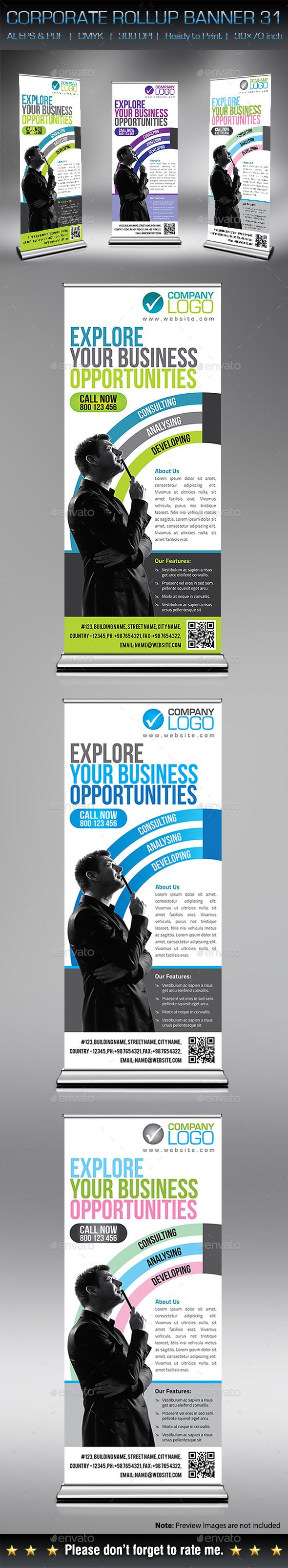 Corporate Business Rollup Banner Template Design Download