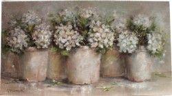 Original Painting - Rustic Pots & Hydrangeas - postage is included Australia wide