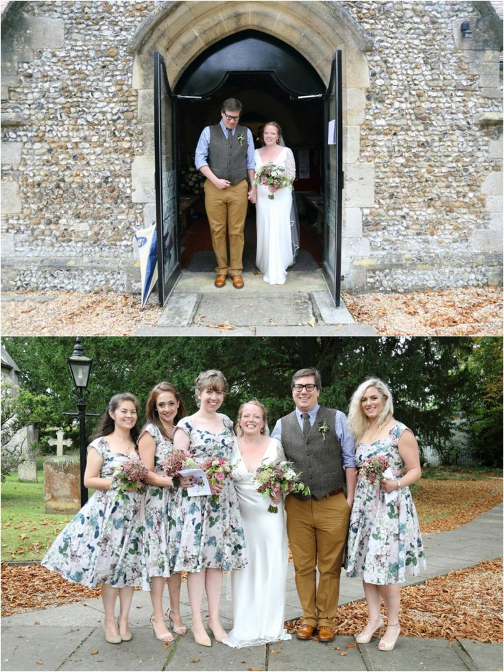 Stapleford church wedding, with floral bridesmaid dresses.