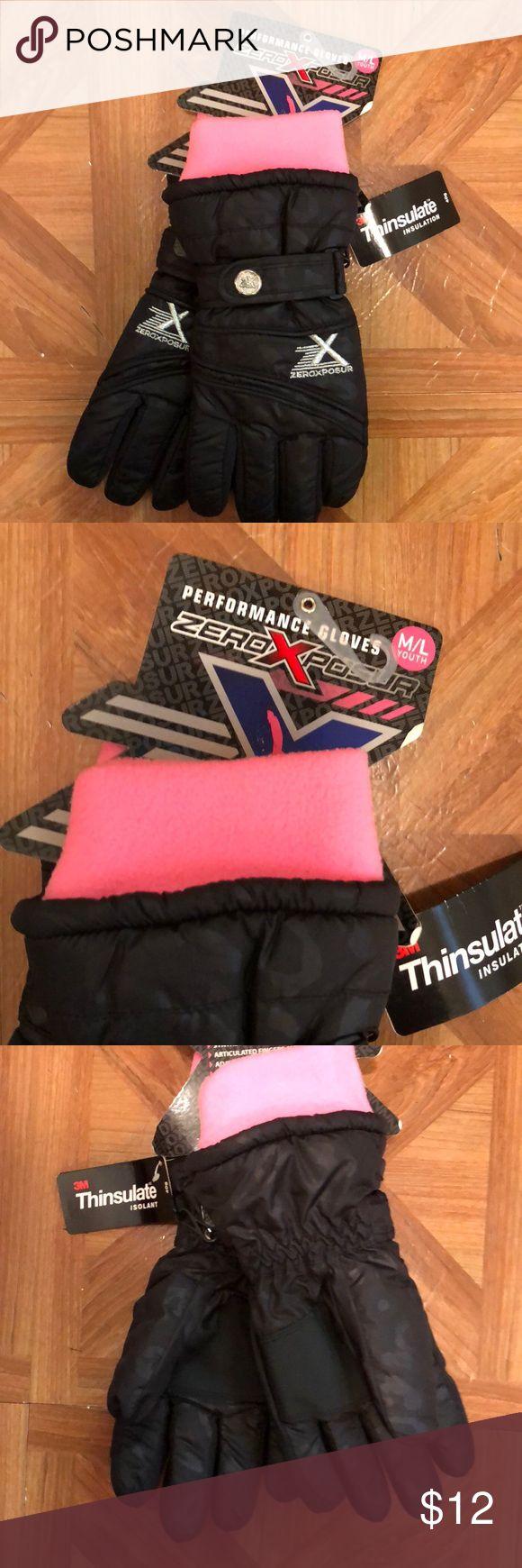 Girls black leopard  embossed gloves Girls black insulated gloves  size M/L ZeroXposur Accessories