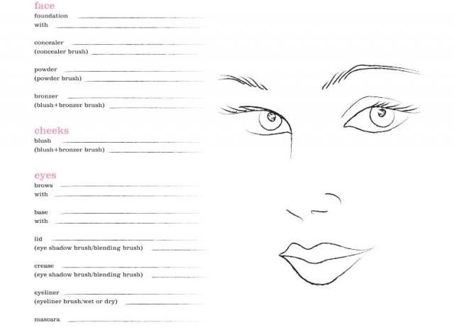 Wedding Hair And Makeup Template Free : blank-face-chart.jpg 640 465 pixels Face Charts ...