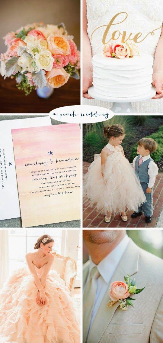 Peach Wedding Inspiration - Pink and Orange Bouquet, Gold Cake Topper, Starfish Watercolor Wedding Invitation