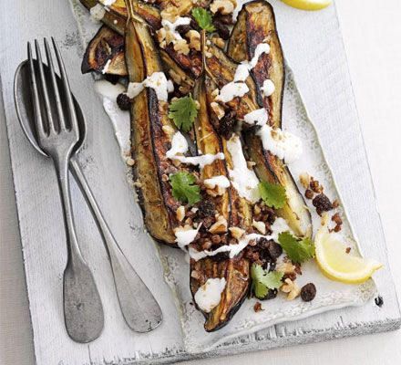 Lebanese baked aubergines with walnuts & spices