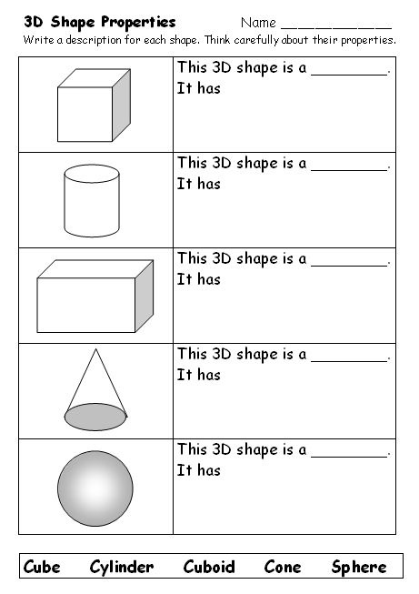 What am I? Naming 3D shapes - Support the learning of shape names and properties with this worksheet.