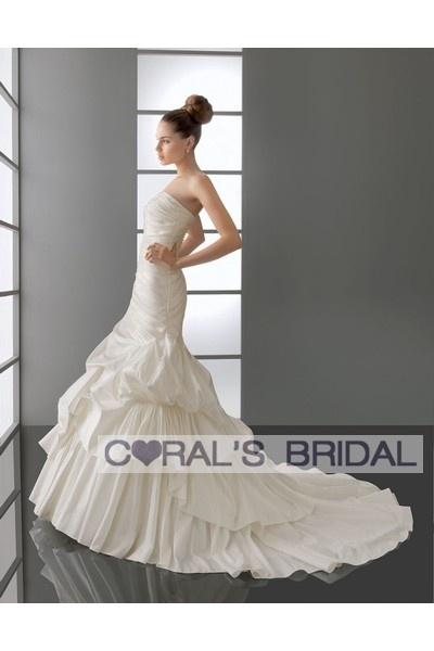 WD12059 strapless mermaid bubble wedding dress